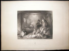 After Landseer C1840 LG Folio Antique Print. Interior of a Highlander's Cottage